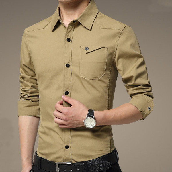 mens casual long sleeves shirts cotton dress slim fit shirt