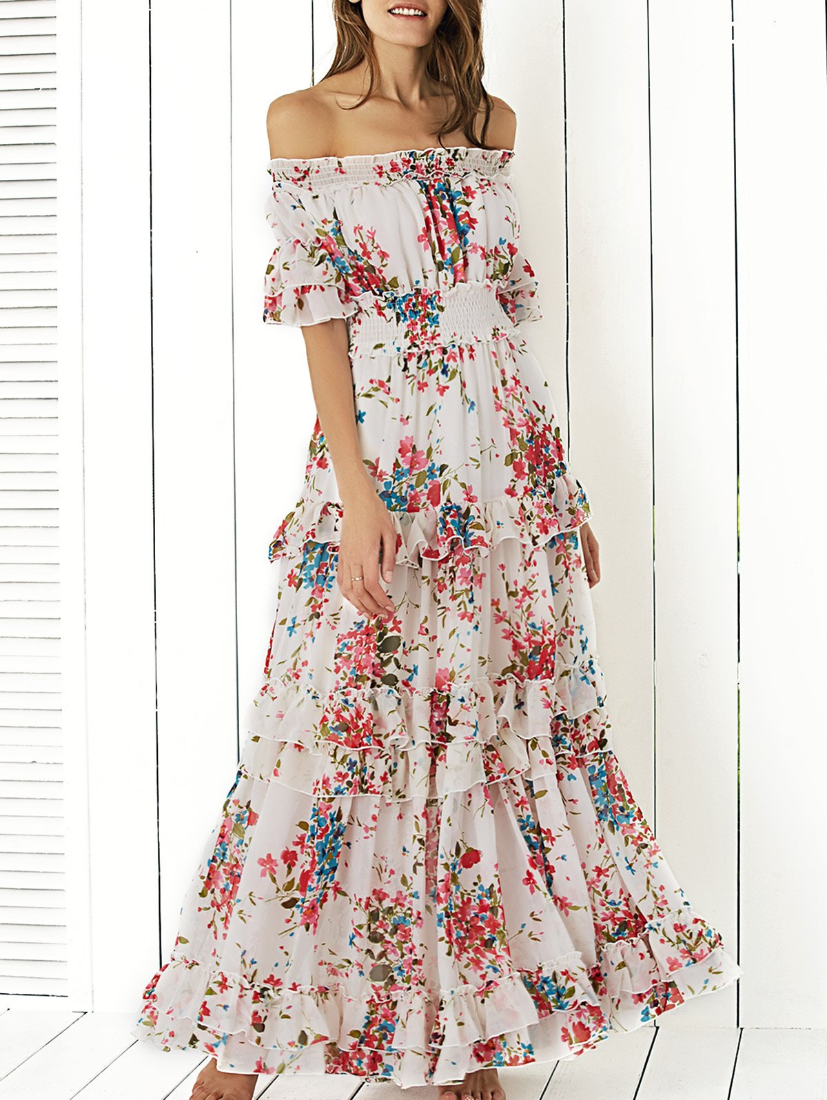 Bohemian Off The Shoulder Floral Shirred Flounce Maxi Dress For ...